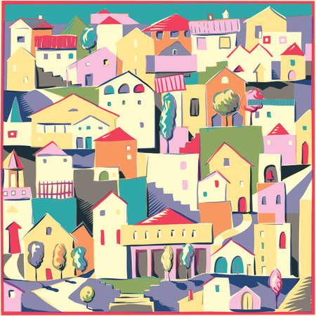 地中海の家のお互いにもたれて。  イラスト・ベクター素材