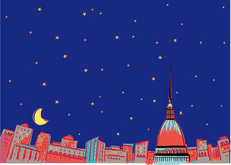 Turin sleeps deeply immersed in the starry night in the moonlight. Illustration