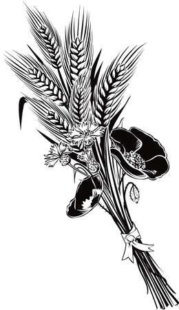 小麦とケシの花やヤグルマ草の耳の束。