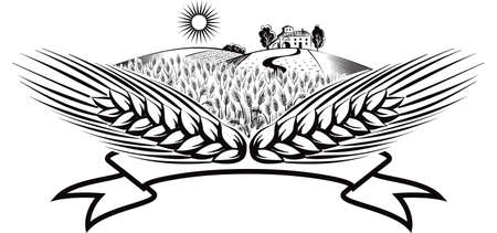 Cartouche with ears of corn in a landscape. Ilustrace