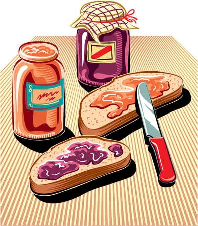 과일 잼, 2 개의 잼 항아리 및 칼로 퍼진 빵 조각을 잘라냅니다.