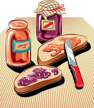 Cut slices of bread, spread with fruit jam, two jam jars and a knife.