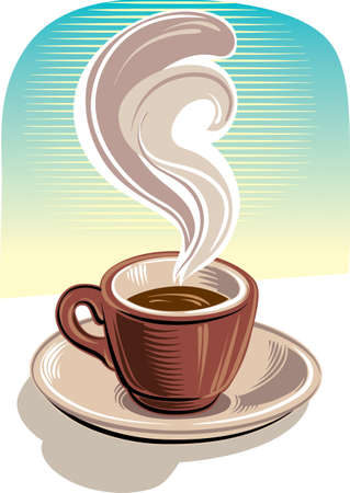 Cup of steaming coffee resting on its saucer.
