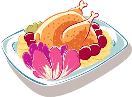 Piatto con pollo arrosto appena sfornato, guarnito con patate e verdure. Archivio Fotografico - 82278161