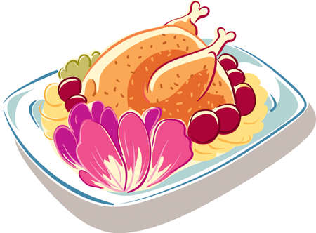 Plate with freshly baked roast chicken, garnished with potatoes and vegetables. Illustration