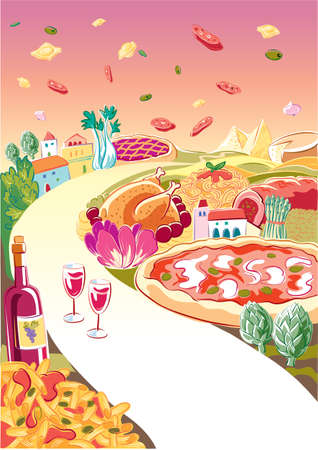 The street food: pasta, pizza, roast chicken with potatoes, vegetables, a bottle of wine and two glasses. In the sky flying ravioli.