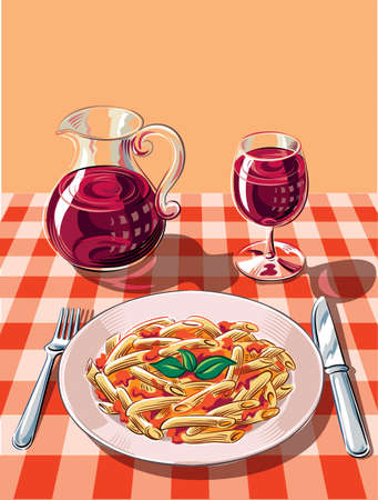 Table prepared a traditional tavern with red and white checkered tablecloth, posed with a steaming and appetizing dish of pasta with tomato and basil.