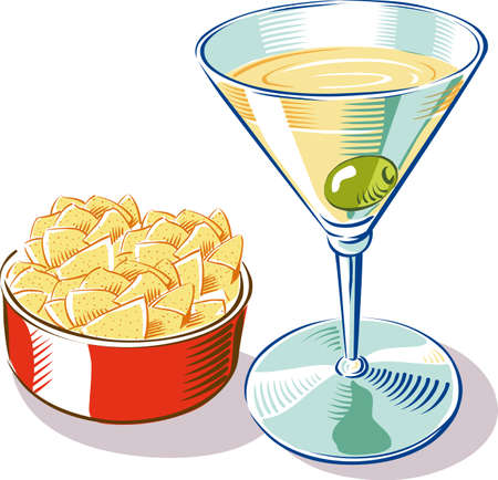 A glass of drink, full of martini and an olives, near a bowl of chips.