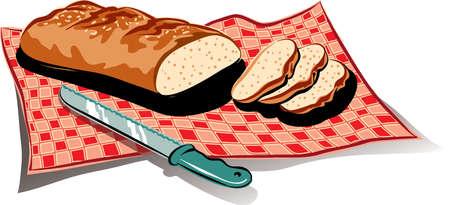 깅 검 식탁보에 신선한 빵 덩어리. 스톡 콘텐츠 - 82278166