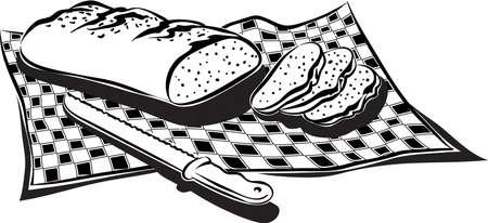깅 검 식탁보에 신선한 빵 덩어리. 일러스트