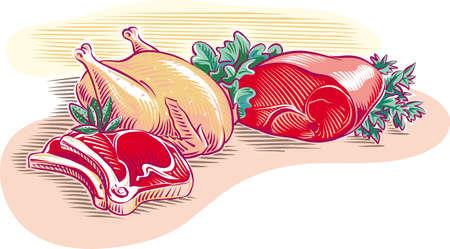 Beef, and chicken cutlet. Иллюстрация