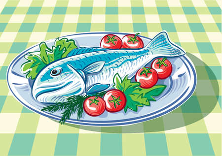 Dish with big fish, some tomatoes, ready to be baked.