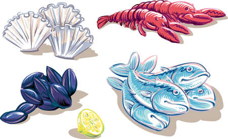 Some typical fish products Иллюстрация