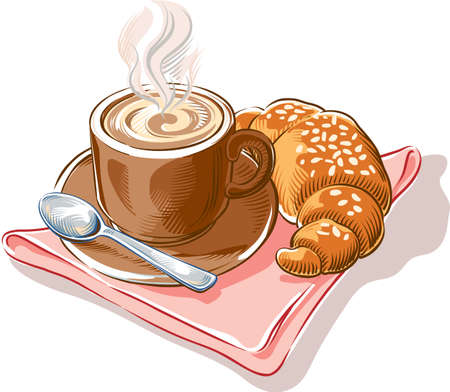 Cup with a steaming and creamy cappuccino freshly prepared, and a croissant.