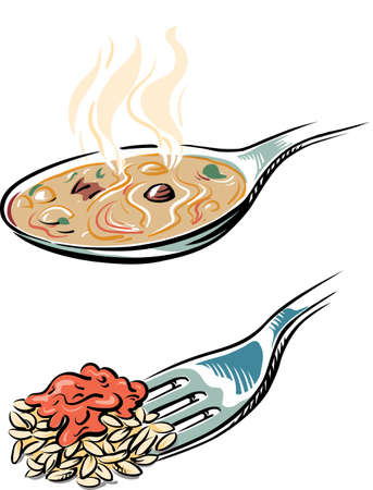 Spoon with the steaming soup and a fork with the risotto. Иллюстрация