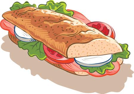 Padded sandwich Ham mozzarella, tomaat en wat sla. Stock Illustratie