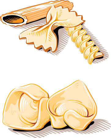 Typically Italian pasta. Иллюстрация