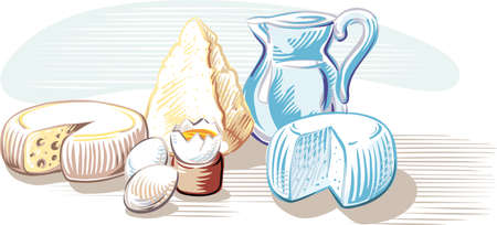 Dairy products and eggs, on a plane. Illustration