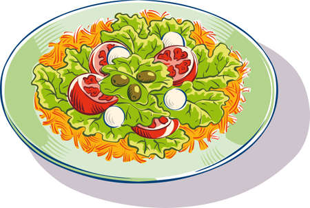 A mixed salad with lettuce, tomatoes, olives, and mushrooms. Иллюстрация