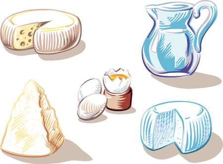 Cheese, hard boiled eggs and a jug of milk. Иллюстрация