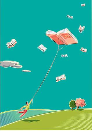 한 젊은이가 하늘에서 높이 날아 다니는 카이트처럼 책에서 끌립니다.