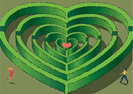 Maze in the shape of concentric hearts, with the center of a flowering bush.