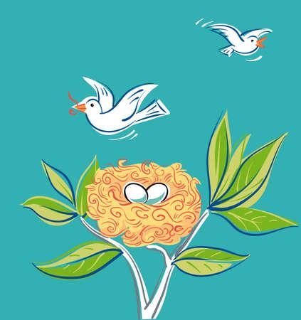 Pair of white dove flying around its nest Иллюстрация
