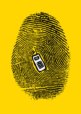 A fingerprint on a cell phone with embossed center