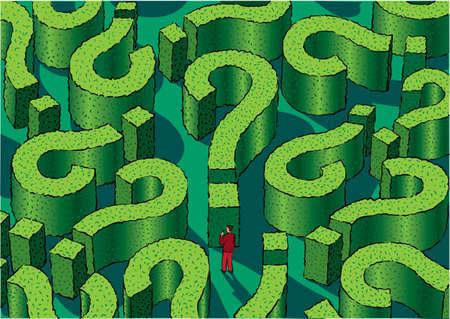 迷路は、途中で少し男疑問符の形をした生垣から成ります。 写真素材 - 82339461