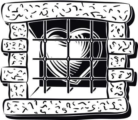 imprisoned: Heart imprisoned, behind a window with bars. Illustration