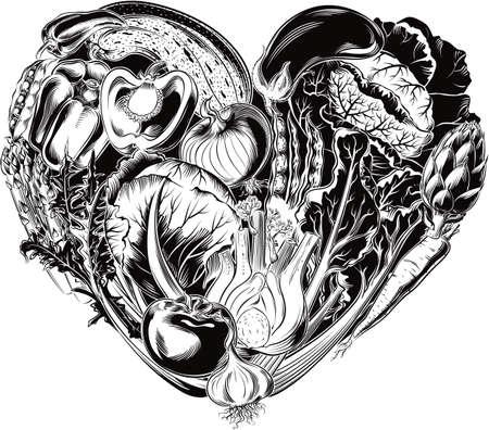 Heart of vegetables, healthy food. Иллюстрация