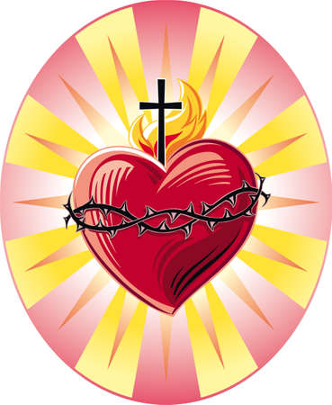 Sacred Heart of Jesus with the Symbols of the Passion. Illustration