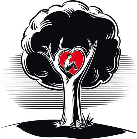 Man sitting in the branch of the tree of love in a heart shape.