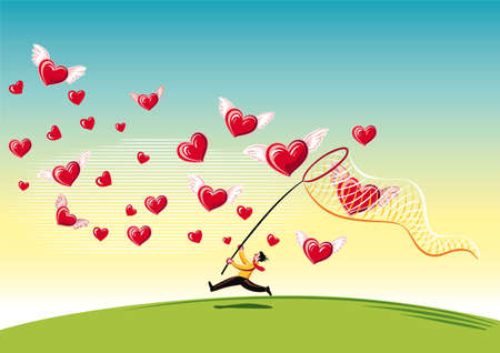 Man with a butterfly net, chasing and trying to capture the hearts.