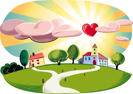 Landscape with houses in the sky shines a sun-shaped heart.