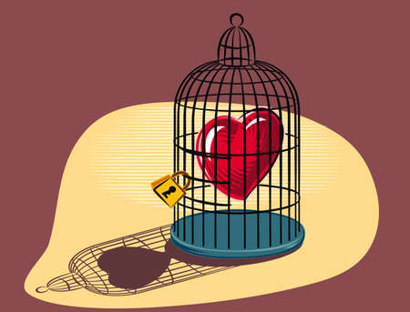 Heart imprisoned in a birdcage. Illustration