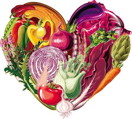 野菜中心の健康食品。  イラスト・ベクター素材