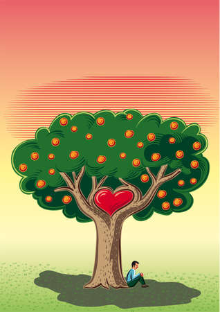 Man sitting in the shade of the tree of love. Иллюстрация