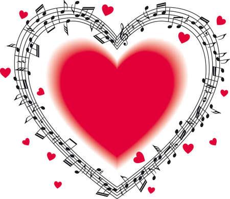 Staff musicale con note, a forma di cuore. Archivio Fotografico - 82356556