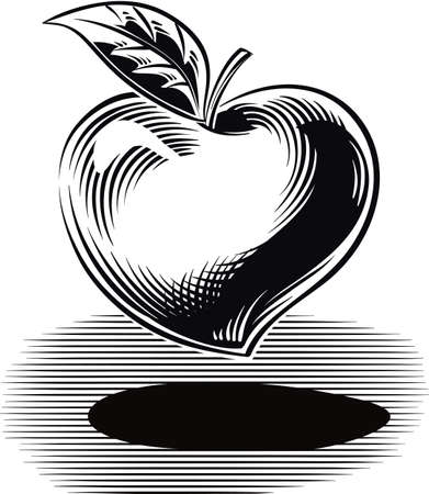 A heart-shaped apple, as a symbol of health.