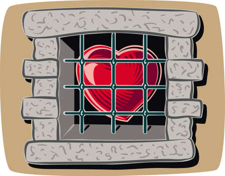 Heart imprisoned, behind a window with bars. Illustration