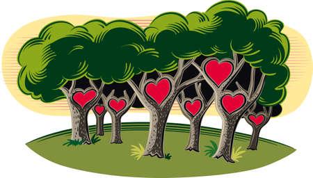 愛の心を持つフォレスト。  イラスト・ベクター素材