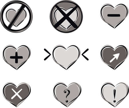 Series of heart-shaped symbols