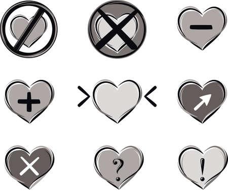 Series of heart-shaped symbols Stock Vector - 82360949