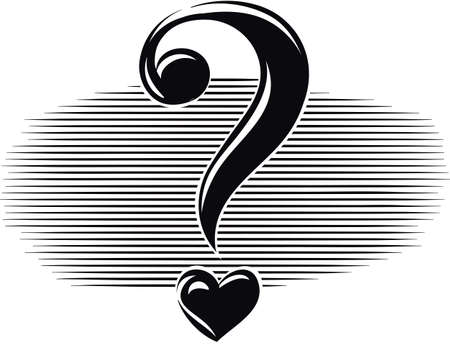 Question mark in the shape of heart. Illustration