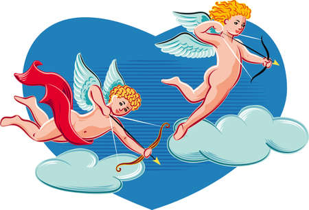 Cupids intent to shoot love arrows.