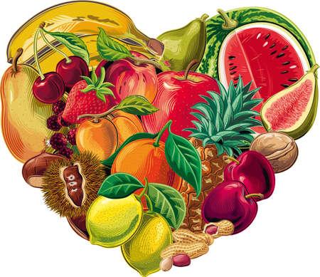 Fruit heart healthy food. Çizim