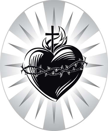 Heiliges Herz Jesu mit den Symbolen der Passion. Standard-Bild - 84076987