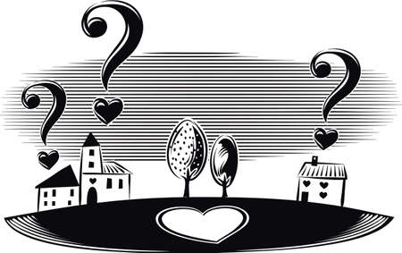Landscape with houses and question marks in the shape of heart. Questions of love