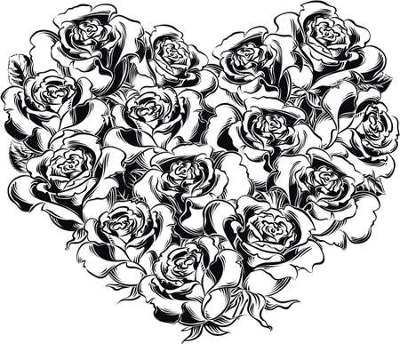 Heart of blooming roses.